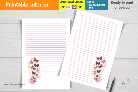 Print on Demand: Pink Butterflies Lined Printable Journal Graphic KDP Interiors By artsbynaty