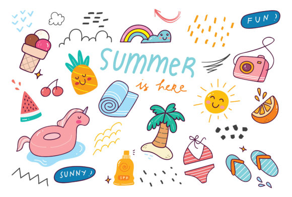 Set of Cute Summer Doodle Graphic Illustrations By Big Barn Doodles