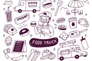 Set of Food Truck Doodles Vector Graphic Illustrations By Big Barn Doodles