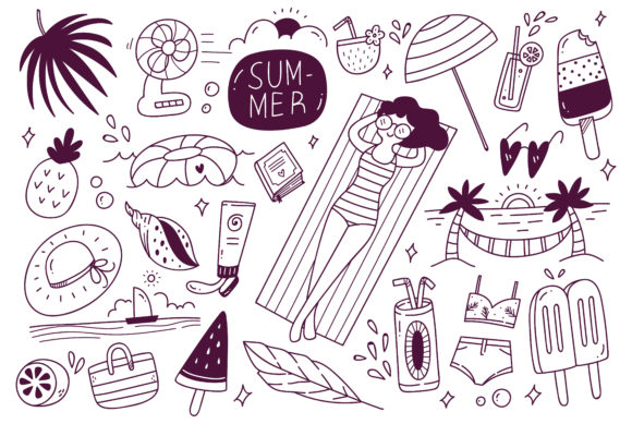 Set of Summer Doodle on White Background Graphic Illustrations By Big Barn Doodles