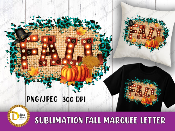 Print on Demand: Sublimation Fall Marquee Letter Png Jpeg Graphic Crafts By dina.store4art