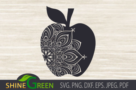 Print on Demand: Teacher Madala Floral Apple Graphic Crafts By ShineGreenArt