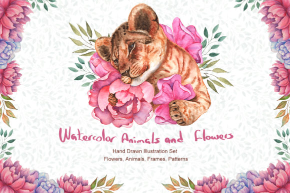 Watercolor Flowers and Animals Set Graphic