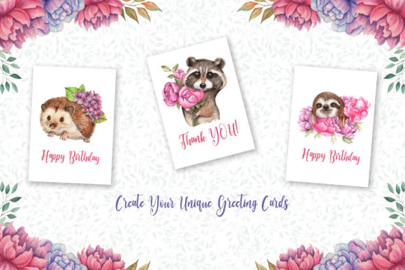 Watercolor Flowers and Animals Set Graphic Graphic