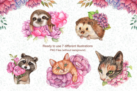 Watercolor Flowers and Animals Set Graphic Download