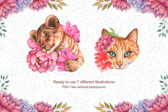 Watercolor Flowers and Animals Set Graphic Item