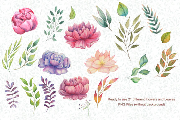 Watercolor Flowers and Animals Set Graphic Design