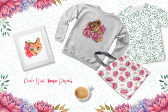 Watercolor Flowers and Animals Set Graphic Downloadable Digital File