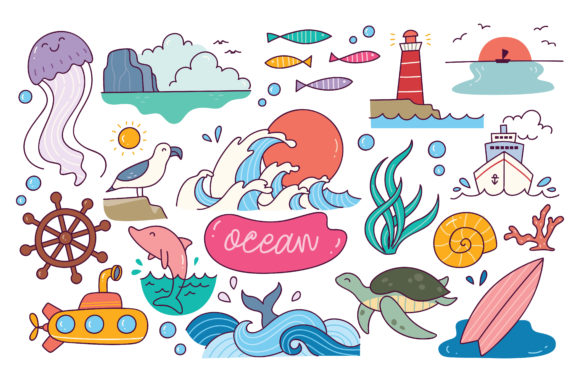 World Ocean Day Doodle Element Graphic Illustrations By Big Barn Doodles
