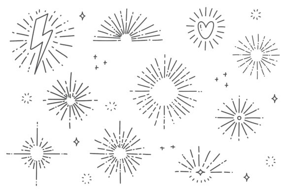 Hand Drawn Sun Burst Doodle Graphic Illustrations By Big Barn Doodles