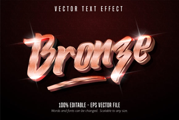 Print on Demand: Shiny Bronze Style Editable Text Effect Graphic Graphic Templates By Mustafa Bekşen