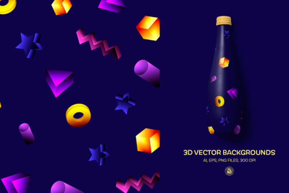 Print on Demand: 3D Vector Backgrounds Graphic Backgrounds By webvilla