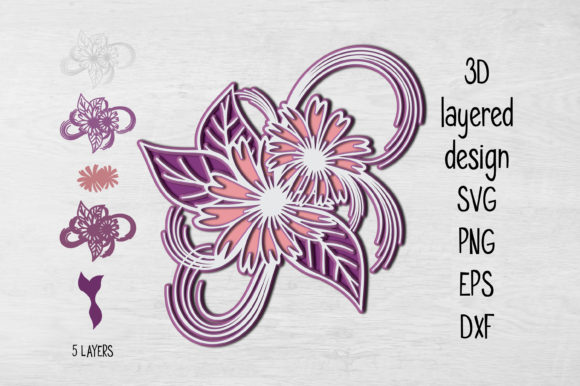 Print on Demand: 3D Layered Floral Design Graphic 3D SVG By Eva Barabasne Olasz