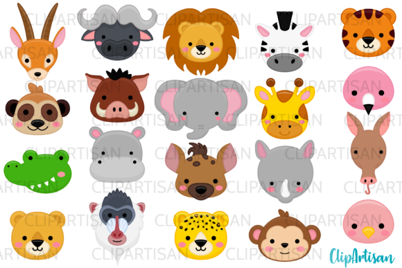 African Animal Faces Clipart, Safari Graphic Illustrations By ClipArtisan