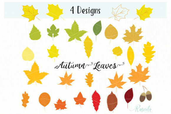 Autumn Leaves, Fall Foliage Graphic Objects By Rasveta