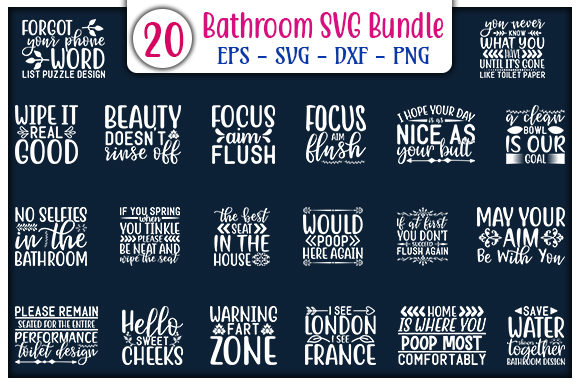 Print on Demand: Bathroom Quotes Design Bundle Graphic Print Templates By GraphicsBooth