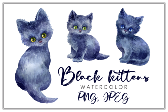 Print on Demand: Black Kittens. Watercolor Illustrations Graphic Illustrations By Olga Belova