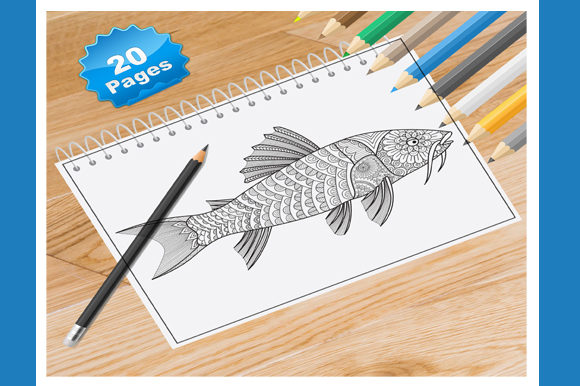 Fish Animal Coloring Book for Adults Graphic Coloring Pages & Books Adults By Coloring World - Image 1