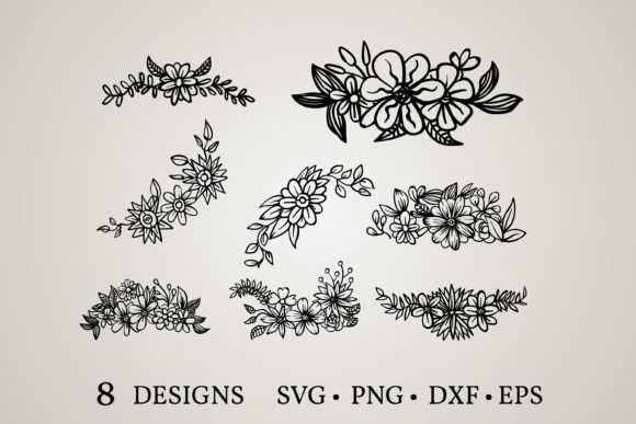Flower Border Graphic Print Templates By Euphoria Design