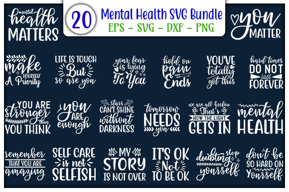 Print on Demand: Mental Health Quotes Design Bundle Graphic Print Templates By GraphicsBooth