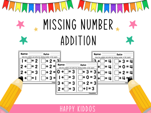 Missing Number - Addition Graphic K By Happy Kiddos