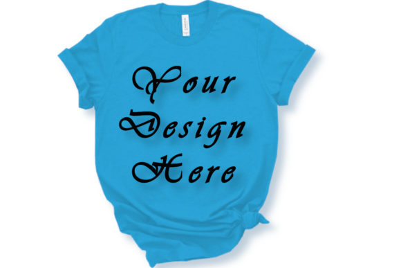 Mockup Bella Canvas 3001 Blue T-shirts Graphic Product Mockups By MockupsByGaby