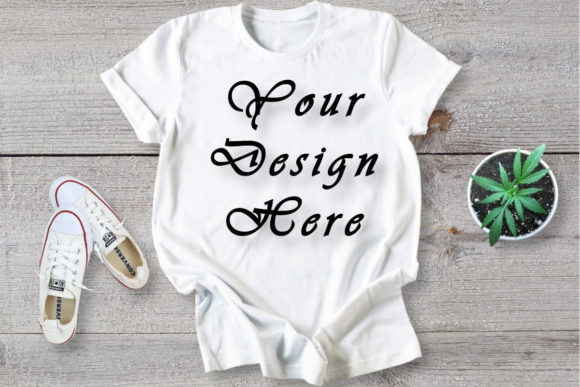 Mockup White T-shirt, Flat Lay Graphic Product Mockups By MockupsByGaby