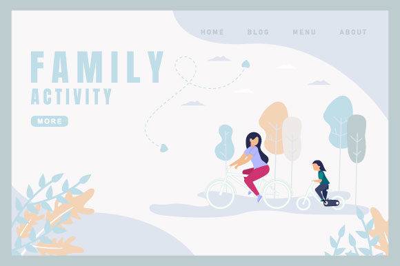 Family Activity Graphic Landing Page Templates By deniprianggono78