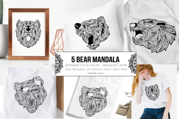 Print on Demand: 5 Bear Bundle | Mandala Graphic Crafts By Vunira
