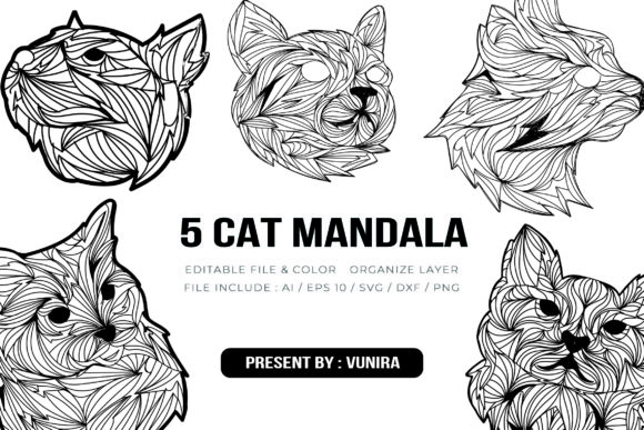 Print on Demand: 5 Cat Bundle | Mandala Graphic Crafts By Vunira