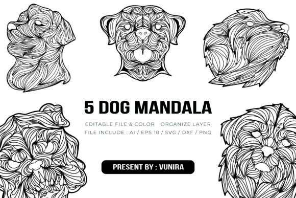 Print on Demand: 5 Dog Bundle | Mandala Gráfico Crafts Por Vunira