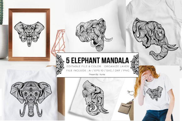 Print on Demand: 5 Elephant Bundle | Mandala Graphic Crafts By Vunira