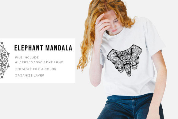 5 Elephant Bundle | Mandala Graphic Design