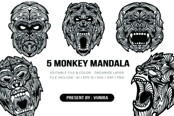 Print on Demand: 5 Monkey Bundle | Mandala Graphic Crafts By Vunira