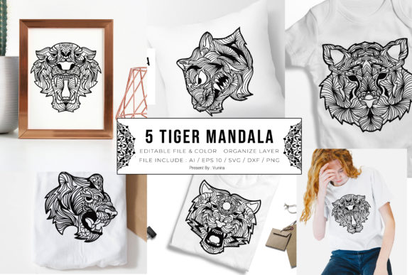 Print on Demand: 5 Tiger Bundle | Mandala Grafik Plotterdateien von Vunira