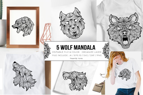 Print on Demand: 5 Wolf Bundle - Mandala Gráfico Crafts Por Vunira