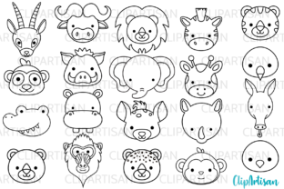 African Animal Faces Clipart Graphic Illustrations By ClipArtisan
