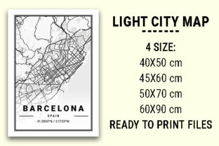 Print on Demand: Barcelona Light City Map Graphic Photos By tienstencil