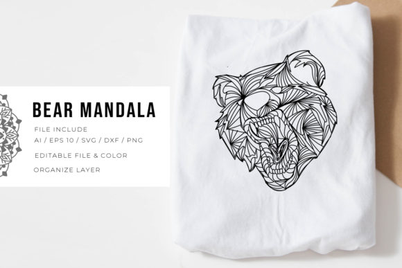 Print on Demand: Bear | Mandala Graphic Crafts By Vunira