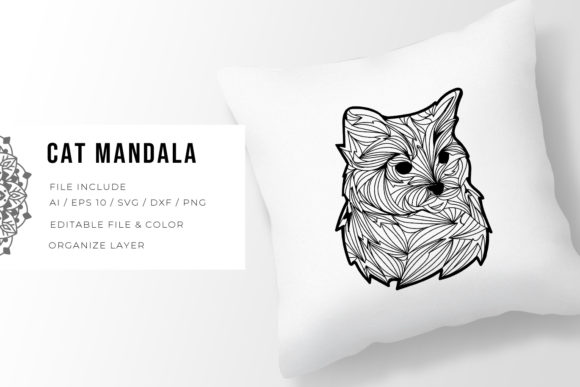 Print on Demand: Cat | Mandala Graphic Crafts By Vunira
