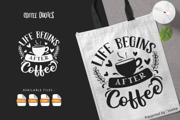 Print on Demand: Coffee | Lettering Quotes Graphic Crafts By Vunira