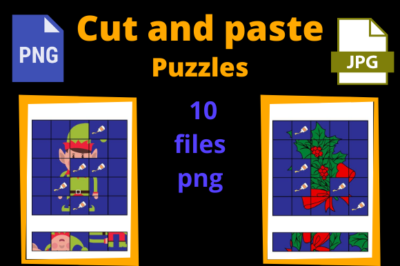 Print on Demand: Cut and Paste 10 Puzzles for KDP Xmas Graphic KDP Interiors By Dunkyshot