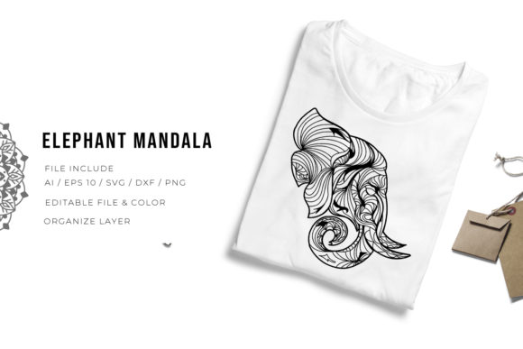 Print on Demand: Elephant | Mandala Graphic Crafts By Vunira