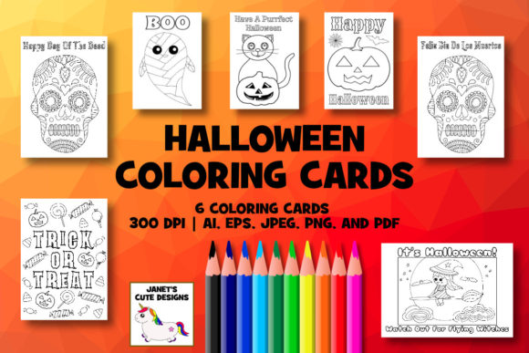 Print on Demand: Halloween Coloring Cards Graphic Coloring Pages & Books By Janet's Cute Designs