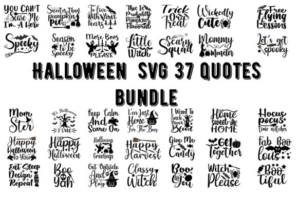 Print on Demand: Halloween 37 Quotes Bundle Graphic Crafts By Design_store