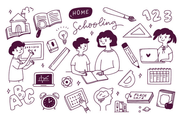 Home Schooling Concept Doodle Vector Graphic Illustrations By Big Barn Doodles