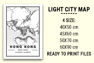 Print on Demand: Hong Kong Light City Map Graphic Photos By tienstencil