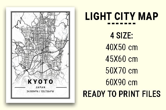 Print on Demand: Kyoto Light City Map Graphic Photos By tienstencil