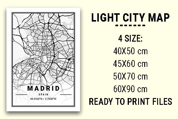 Print on Demand: Madrid Light City Map Graphic Photos By tienstencil