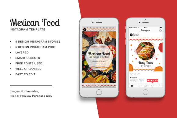 Mexican Food Instagram Stories and Post Graphic UX and UI Kits By formatikastd